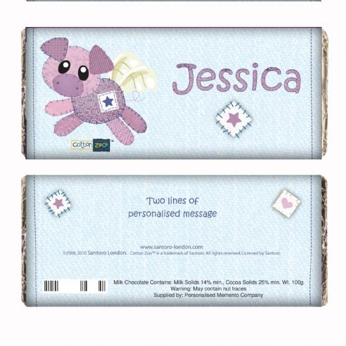 Personalised Cotton Zoo Organza the Piglet Chocolate Bar